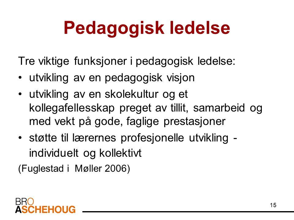 15 Pedagogisk ledelse Tre viktige funksjoner i pedagogisk ledelse: utvikling av en pedagogisk visjon utvikling av en skolekultur og et kollegafellesskap preget av tillit, samarbeid og med vekt på gode, faglige prestasjoner støtte til lærernes profesjonelle utvikling - individuelt og kollektivt (Fuglestad i Møller 2006)