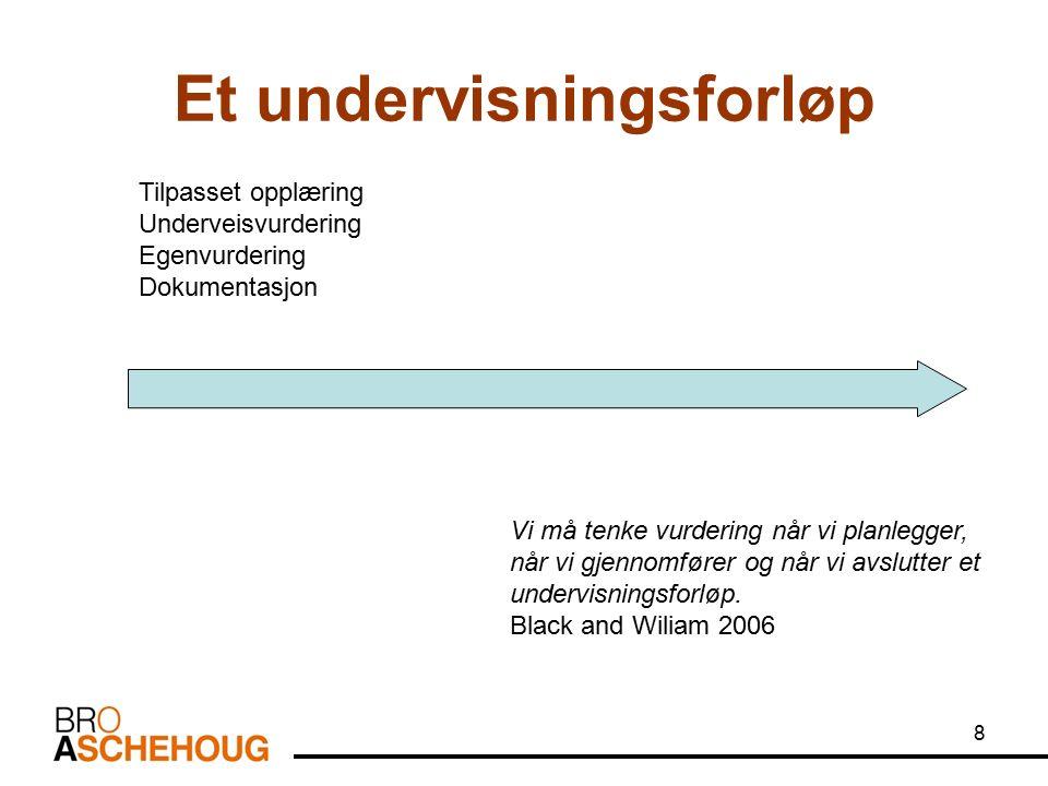 8 Et undervisningsforløp Tilpasset opplæring Underveisvurdering Egenvurdering Dokumentasjon Vi må tenke vurdering når vi planlegger, når vi gjennomfører og når vi avslutter et undervisningsforløp.