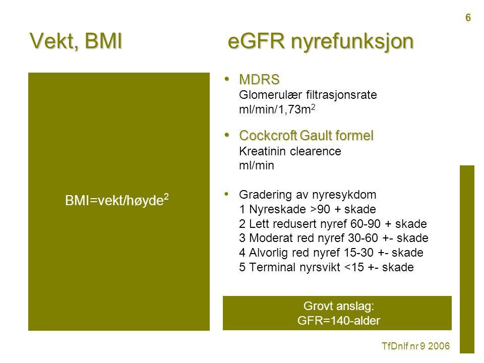 Vekt, BMI MDRS MDRS Glomerulær filtrasjonsrate ml/min/1,73m 2 Cockcroft Gault formel Cockcroft Gault formel Kreatinin clearence ml/min Gradering av nyresykdom 1 Nyreskade >90 + skade 2 Lett redusert nyref 60-90 + skade 3 Moderat red nyref 30-60 +- skade 4 Alvorlig red nyref 15-30 +- skade 5 Terminal nyrsvikt <15 +- skade eGFR nyrefunksjon TfDnlf nr 9 2006 Grovt anslag: GFR=140-alder BMI=vekt/høyde 2 6