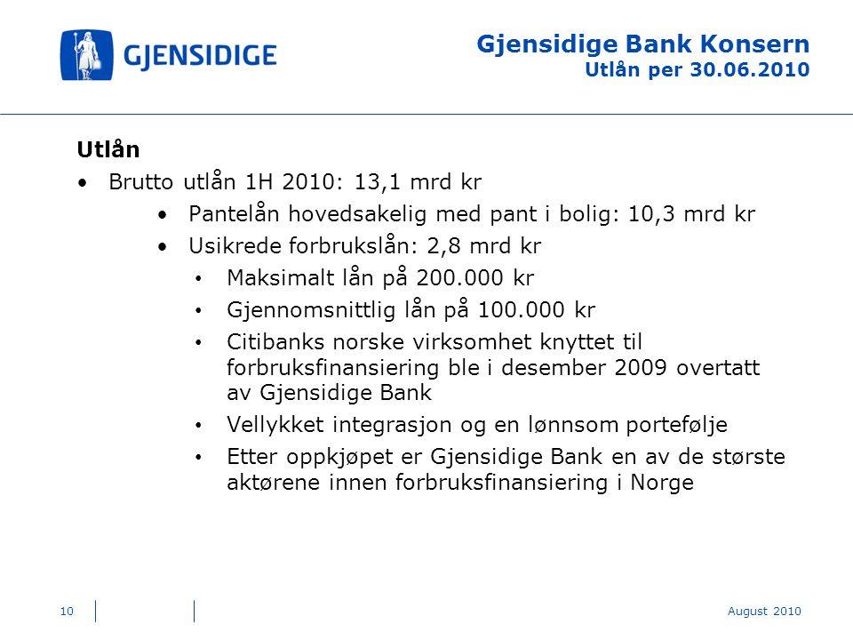 Gjensidige Bank Konsern Utlån per 30.06.2010 Utlån Brutto utlån 1H 2010: 13,1 mrd kr Pantelån hovedsakelig med pant i bolig: 10,3 mrd kr Usikrede forbrukslån: 2,8 mrd kr Maksimalt lån på 200.000 kr Gjennomsnittlig lån på 100.000 kr Citibanks norske virksomhet knyttet til forbruksfinansiering ble i desember 2009 overtatt av Gjensidige Bank Vellykket integrasjon og en lønnsom portefølje Etter oppkjøpet er Gjensidige Bank en av de største aktørene innen forbruksfinansiering i Norge 10August 2010