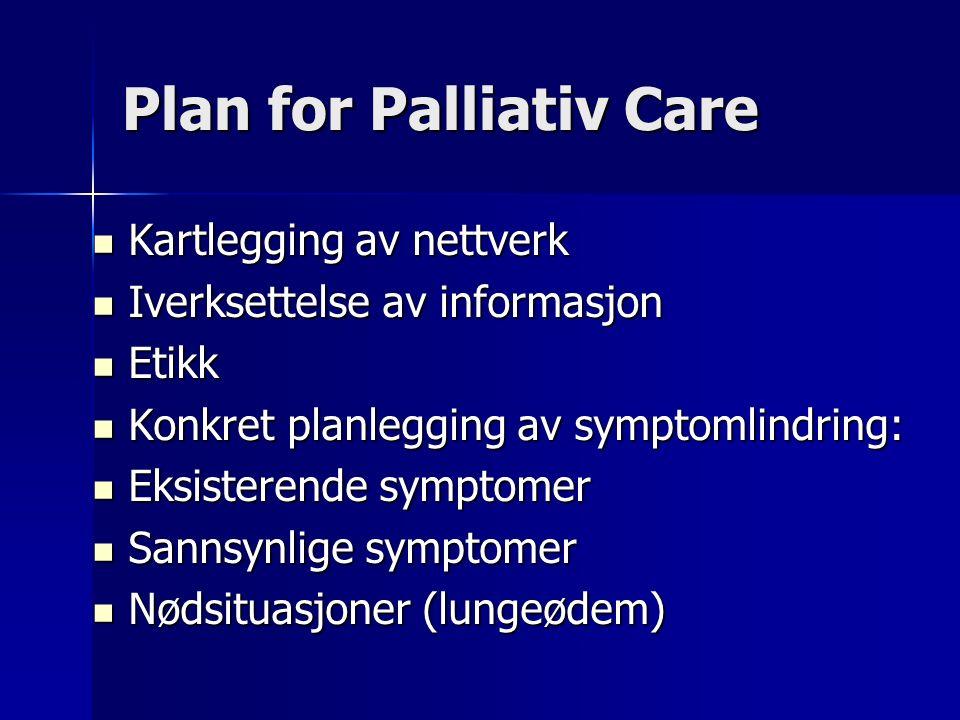 Plan for Palliativ Care Kartlegging av nettverk Kartlegging av nettverk Iverksettelse av informasjon Iverksettelse av informasjon Etikk Etikk Konkret planlegging av symptomlindring: Konkret planlegging av symptomlindring: Eksisterende symptomer Eksisterende symptomer Sannsynlige symptomer Sannsynlige symptomer Nødsituasjoner (lungeødem) Nødsituasjoner (lungeødem)