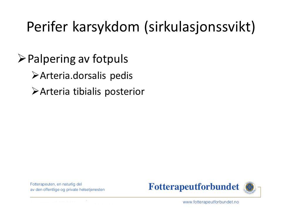 Perifer karsykdom (sirkulasjonssvikt)  Palpering av fotpuls  Arteria.dorsalis pedis  Arteria tibialis posterior