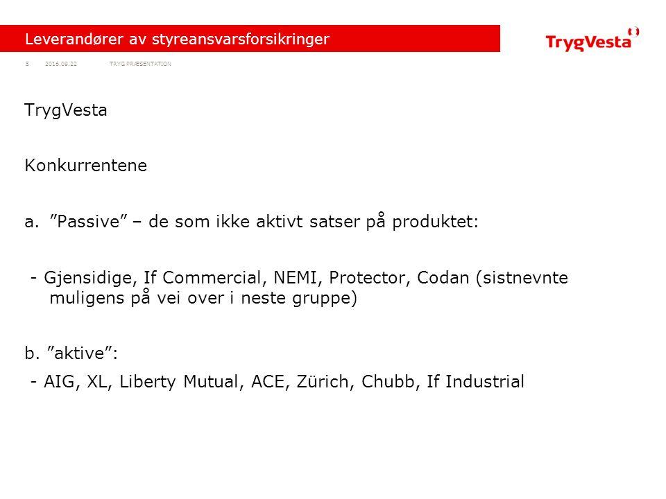 TRYG PRÆSENTATION52016.09.22 Leverandører av styreansvarsforsikringer TrygVesta Konkurrentene a. Passive – de som ikke aktivt satser på produktet: - Gjensidige, If Commercial, NEMI, Protector, Codan (sistnevnte muligens på vei over i neste gruppe) b.