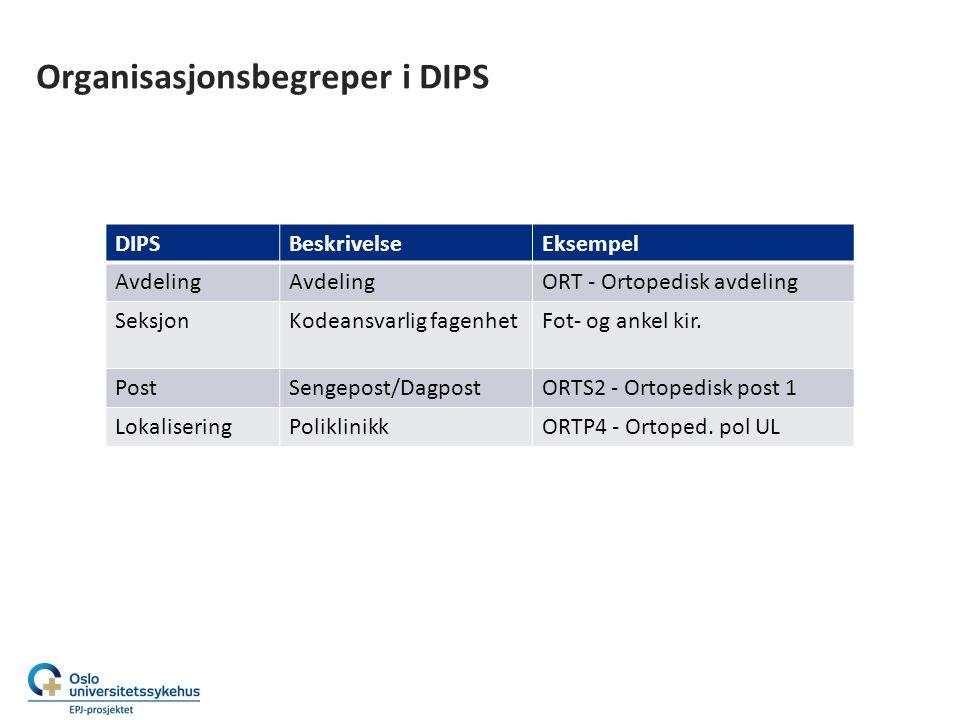 Organisasjonsbegreper i DIPS DIPSBeskrivelseEksempel Avdeling ORT - Ortopedisk avdeling SeksjonKodeansvarlig fagenhetFot- og ankel kir.