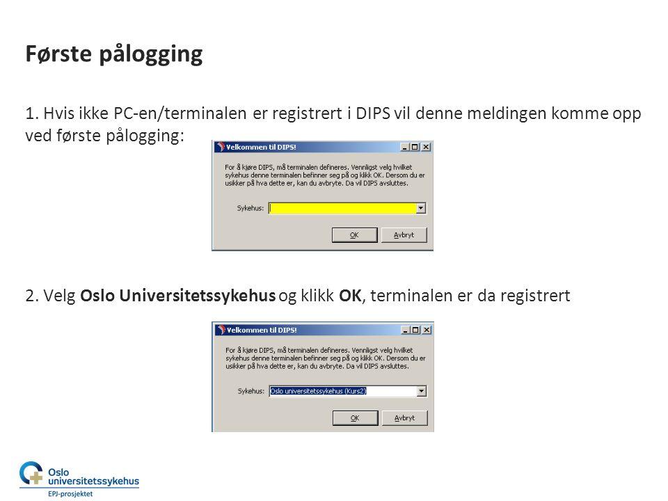 Første pålogging Når det ikke har vært aktivert en pasient i DIPS vil noen av ikonene være «grå» Når en pasient er aktivert vil ikonene bli aktive