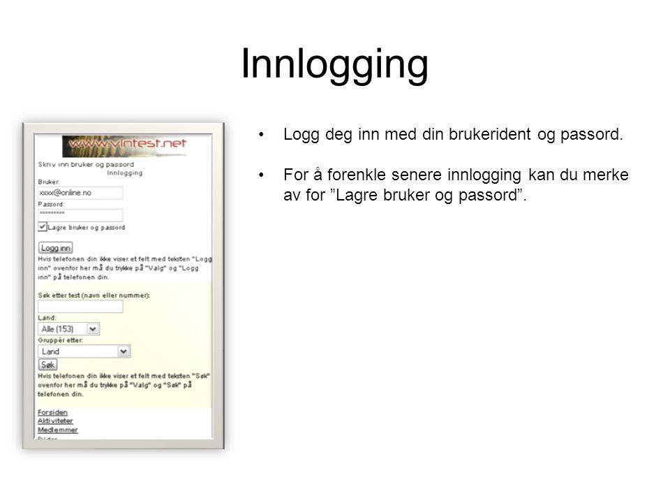 Innlogging Logg deg inn med din brukerident og passord.