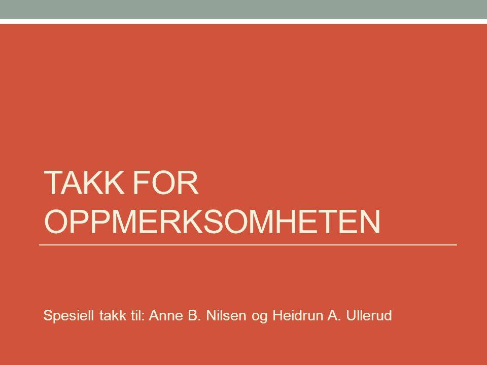 TAKK FOR OPPMERKSOMHETEN Spesiell takk til: Anne B. Nilsen og Heidrun A. Ullerud