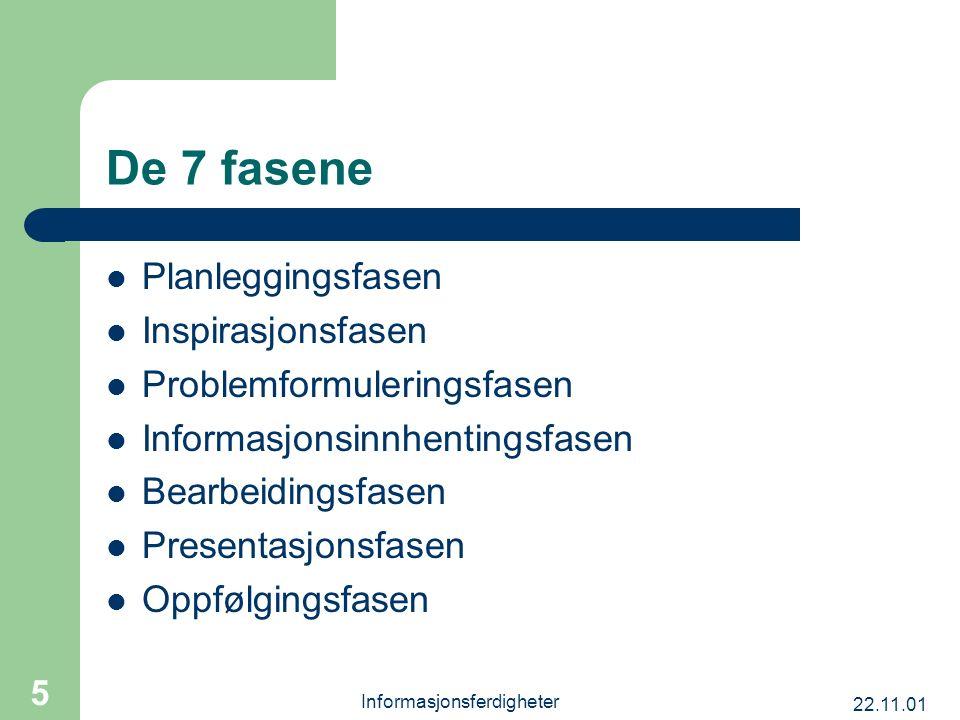 22.11.01 Informasjonsferdigheter 5 De 7 fasene Planleggingsfasen Inspirasjonsfasen Problemformuleringsfasen Informasjonsinnhentingsfasen Bearbeidingsf