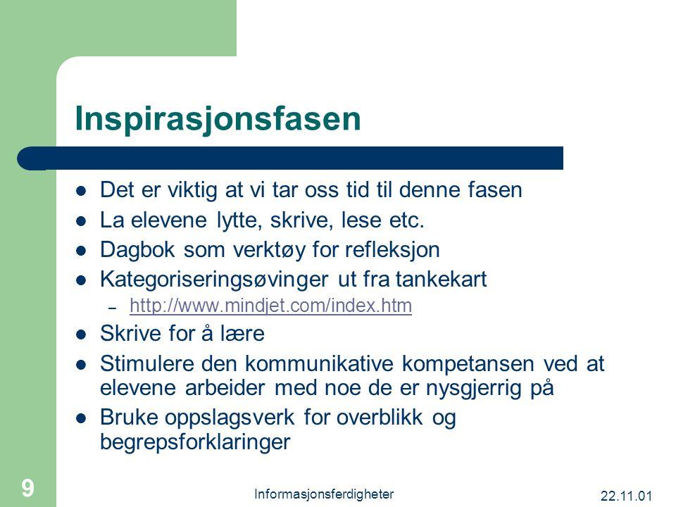 22.11.01 Informasjonsferdigheter 9 Inspirasjonsfasen Det er viktig at vi tar oss tid til denne fasen La elevene lytte, skrive, lese etc. Dagbok som ve