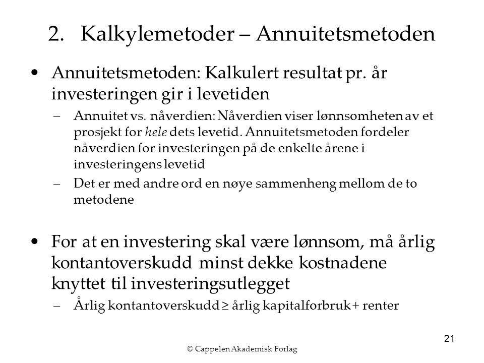 © Cappelen Akademisk Forlag 21 Annuitetsmetoden: Kalkulert resultat pr.