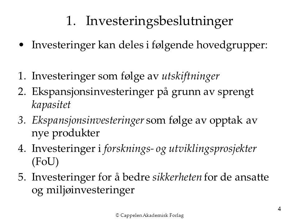 © Cappelen Akademisk Forlag 4 Investeringer kan deles i følgende hovedgrupper: 1.Investeringer som følge av utskiftninger 2.Ekspansjonsinvesteringer på grunn av sprengt kapasitet 3.Ekspansjonsinvesteringer som følge av opptak av nye produkter 4.Investeringer i forsknings- og utviklingsprosjekter (FoU) 5.Investeringer for å bedre sikkerheten for de ansatte og miljøinvesteringer 1.