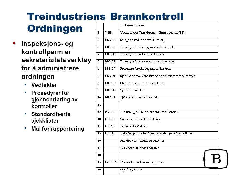 Treindustriens Brannkontroll Bedriftsgjennomgang Organisatoriske og andre overordnede forhold Interne rutiner, serviceavtaler, HMS-arbeid / internkontroll, industribrannvern, tegningsunderlag, vanntilførsel etc.
