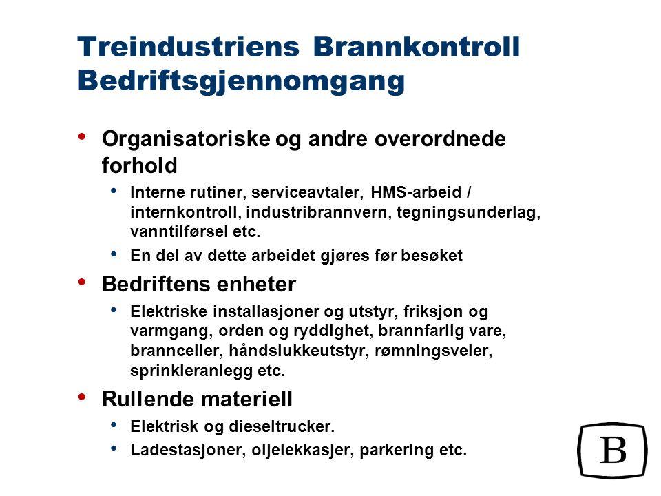 Treindustriens Brannkontroll Bedriftsgjennomgang Sjekklister som veiledning ved bedriftsgjennomgang Rating 1-10 Forsikring har vært aktivt med på å bestemme hvilken tilstand som skal gi hvilken rating
