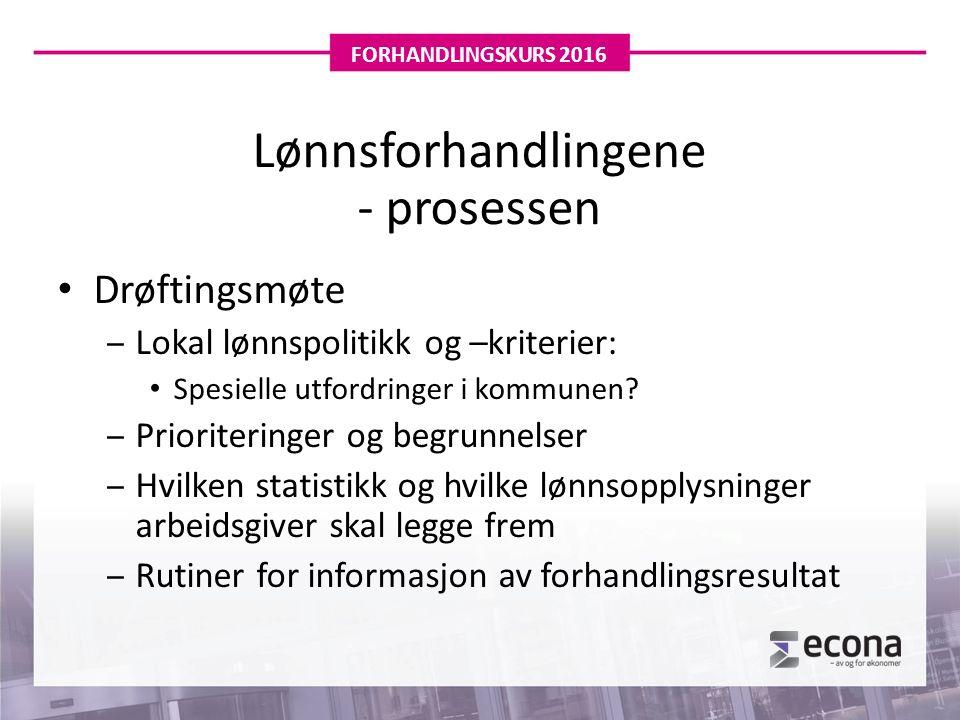Lønnsforhandlingene - prosessen Drøftingsmøte ‒Lokal lønnspolitikk og –kriterier: Spesielle utfordringer i kommunen.