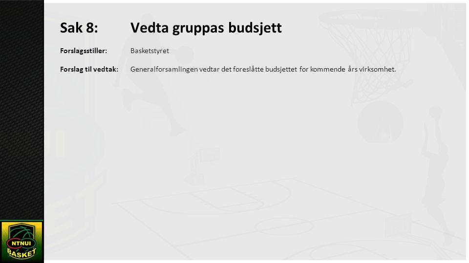 Sak 8: Vedta gruppas budsjett Forslagsstiller:Basketstyret Forslag til vedtak:Generalforsamlingen vedtar det foreslåtte budsjettet for kommende års virksomhet.