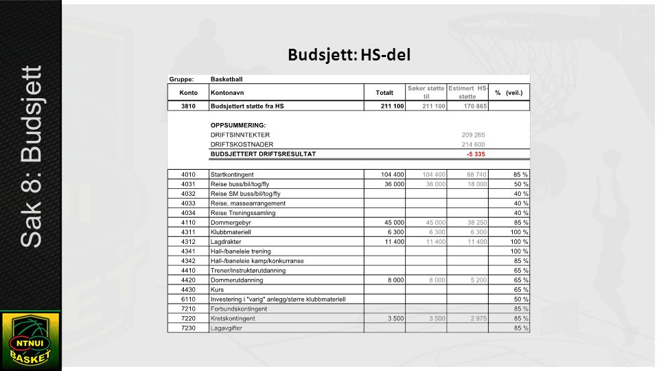 Budsjett: HS-del