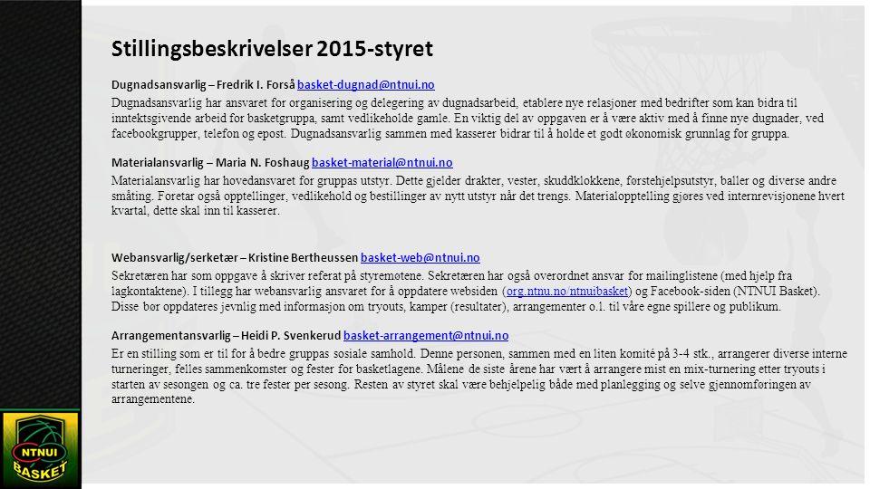 Stillingsbeskrivelser 2015-styret Dugnadsansvarlig – Fredrik I.