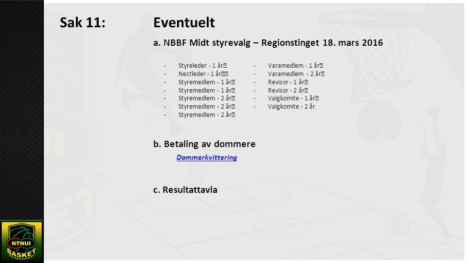 Sak 11: Eventuelt a. NBBF Midt styrevalg – Regionstinget 18.