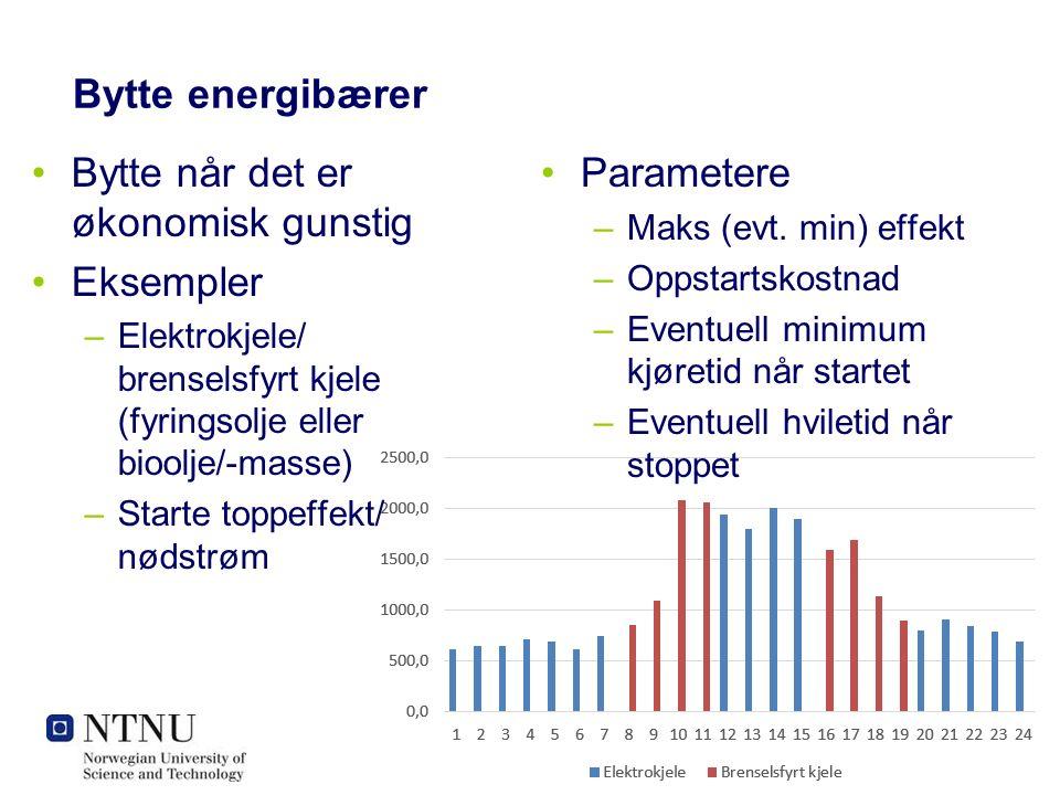 Bytte energibærer Bytte når det er økonomisk gunstig Eksempler –Elektrokjele/ brenselsfyrt kjele (fyringsolje eller bioolje/-masse) –Starte toppeffekt/ nødstrøm Parametere –Maks (evt.