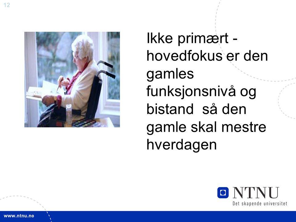 12 Ikke primært - hovedfokus er den gamles funksjonsnivå og bistand så den gamle skal mestre hverdagen