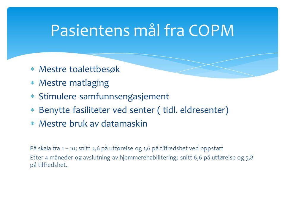  Mestre toalettbesøk  Mestre matlaging  Stimulere samfunnsengasjement  Benytte fasiliteter ved senter ( tidl.