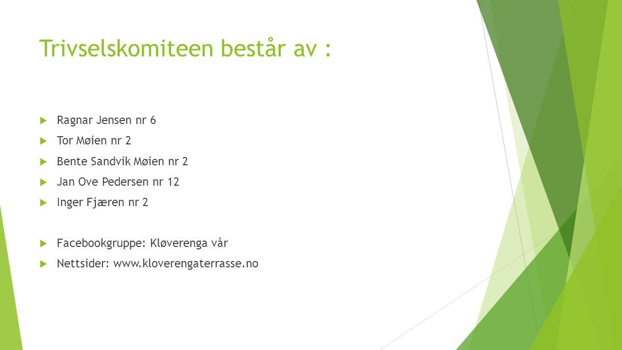 Trivselskomiteen består av :  Ragnar Jensen nr 6  Tor Møien nr 2  Bente Sandvik Møien nr 2  Jan Ove Pedersen nr 12  Inger Fjæren nr 2  Facebookgruppe: Kløverenga vår  Nettsider: www.kloverengaterrasse.no