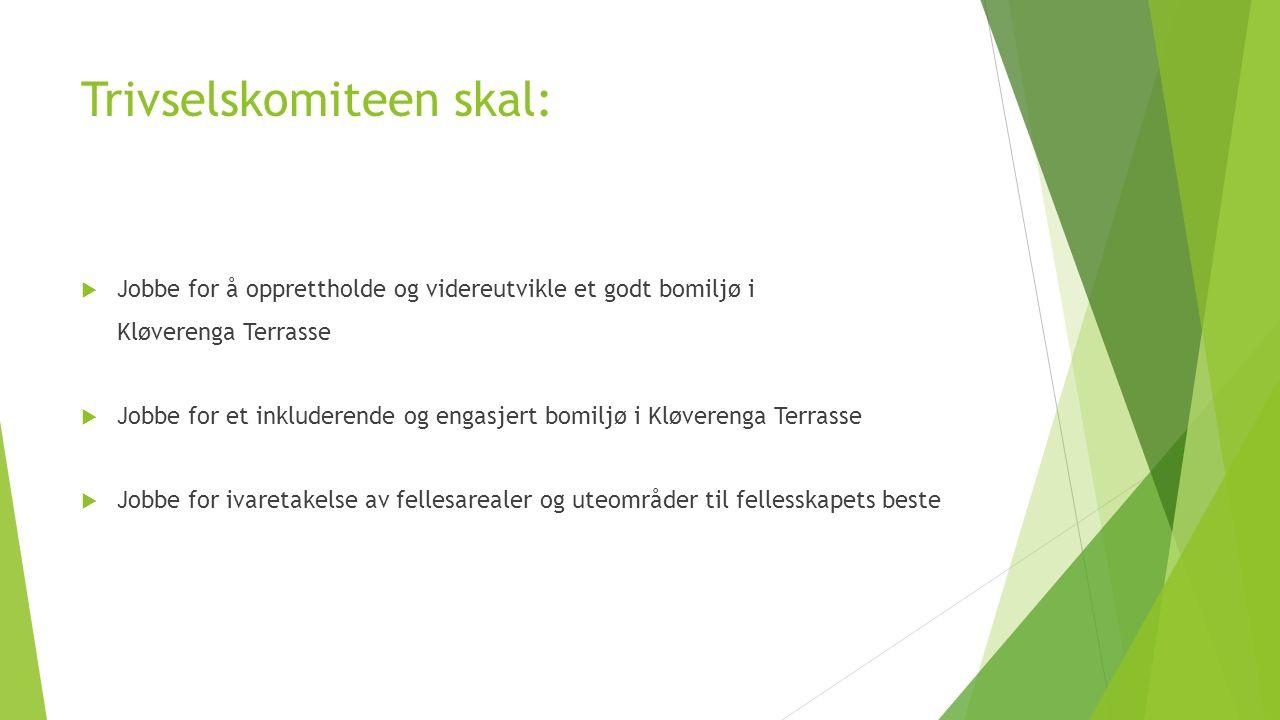 Trivselskomiteen skal:  Jobbe for å opprettholde og videreutvikle et godt bomiljø i Kløverenga Terrasse  Jobbe for et inkluderende og engasjert bomiljø i Kløverenga Terrasse  Jobbe for ivaretakelse av fellesarealer og uteområder til fellesskapets beste