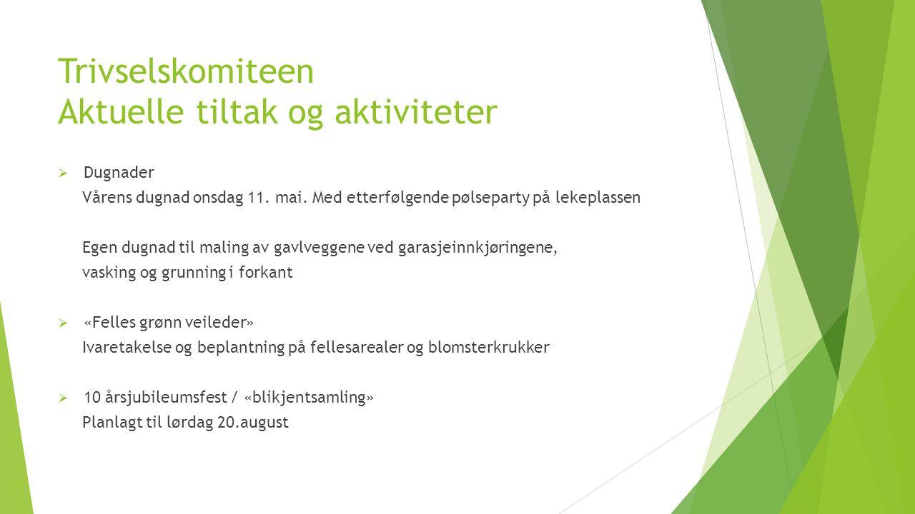 Trivselskomiteen Aktuelle tiltak og aktiviteter  Dugnader Vårens dugnad onsdag 11.
