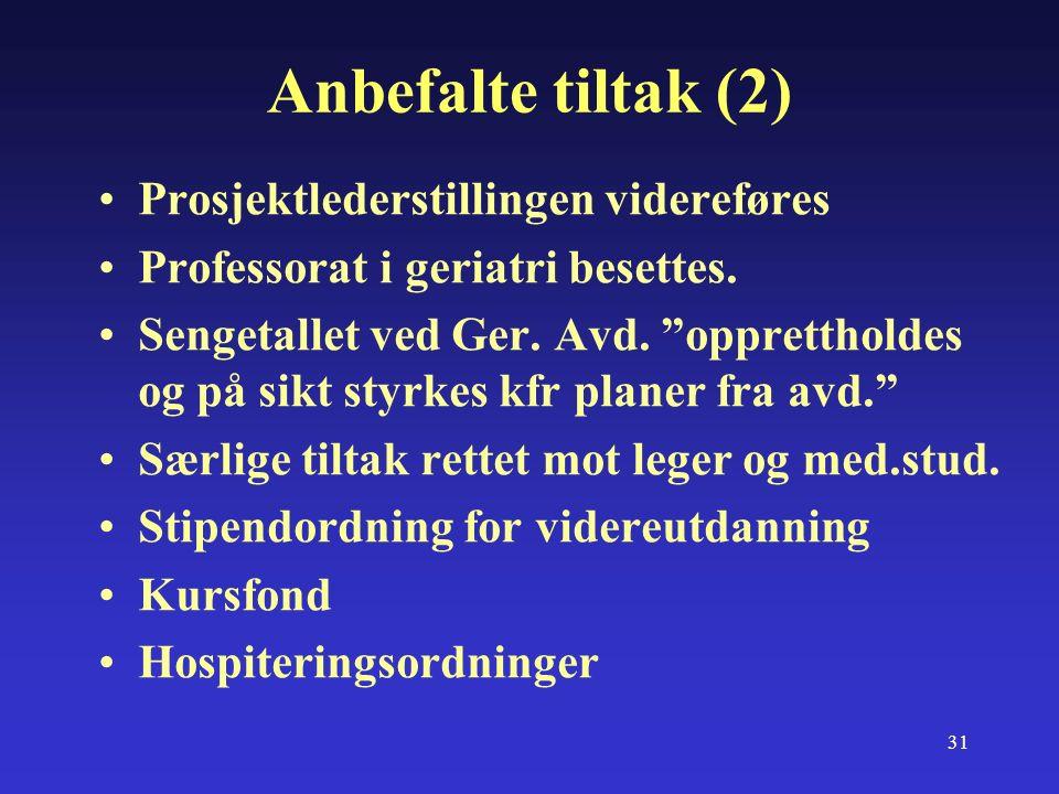 31 Anbefalte tiltak (2) Prosjektlederstillingen videreføres Professorat i geriatri besettes.