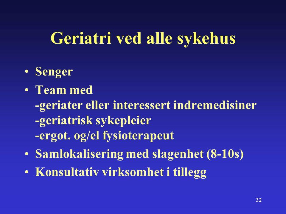 32 Geriatri ved alle sykehus Senger Team med -geriater eller interessert indremedisiner -geriatrisk sykepleier -ergot.