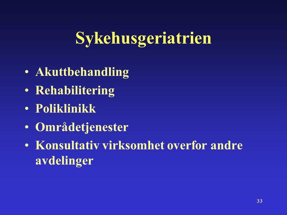 33 Sykehusgeriatrien Akuttbehandling Rehabilitering Poliklinikk Områdetjenester Konsultativ virksomhet overfor andre avdelinger