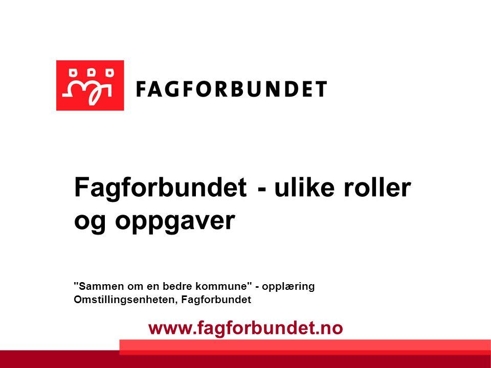 www.fagforbundet.no Fagforbundet - ulike roller og oppgaver