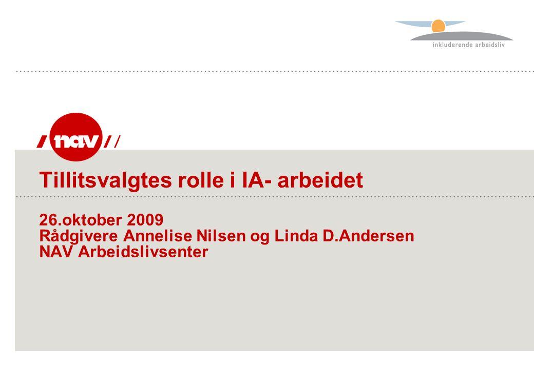 Tillitsvalgtes rolle i IA- arbeidet 26.oktober 2009 Rådgivere Annelise Nilsen og Linda D.Andersen NAV Arbeidslivsenter
