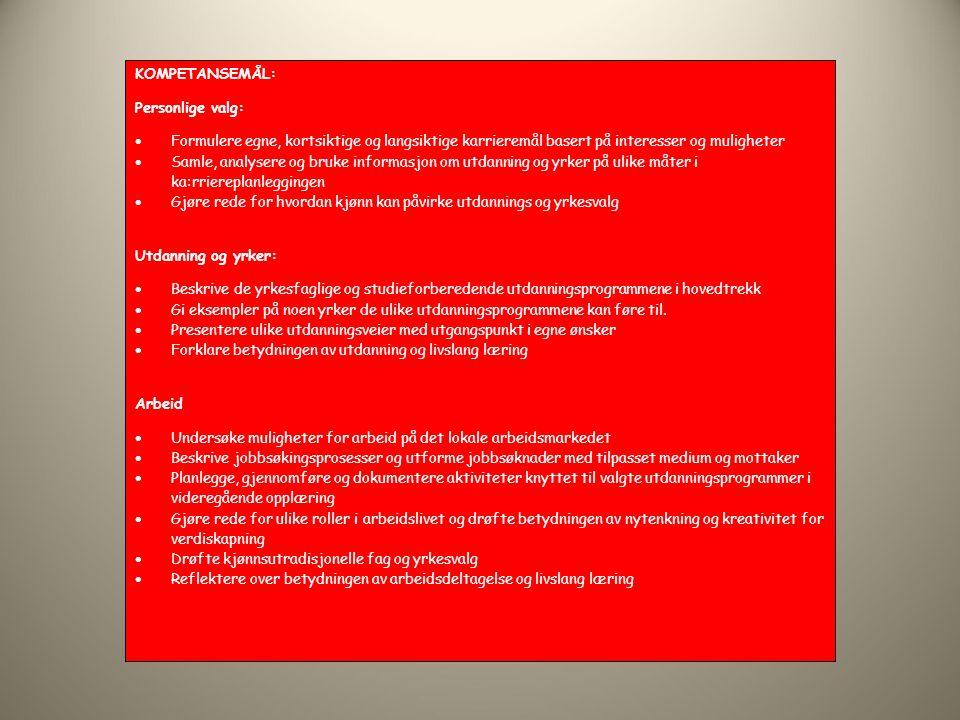 KOMPETANSEMÅL: Personlige valg:  Formulere egne, kortsiktige og langsiktige karrieremål basert på interesser og muligheter  Samle, analysere og bruke informasjon om utdanning og yrker på ulike måter i ka:rriereplanleggingen  Gjøre rede for hvordan kjønn kan påvirke utdannings og yrkesvalg Utdanning og yrker:  Beskrive de yrkesfaglige og studieforberedende utdanningsprogrammene i hovedtrekk  Gi eksempler på noen yrker de ulike utdanningsprogrammene kan føre til.