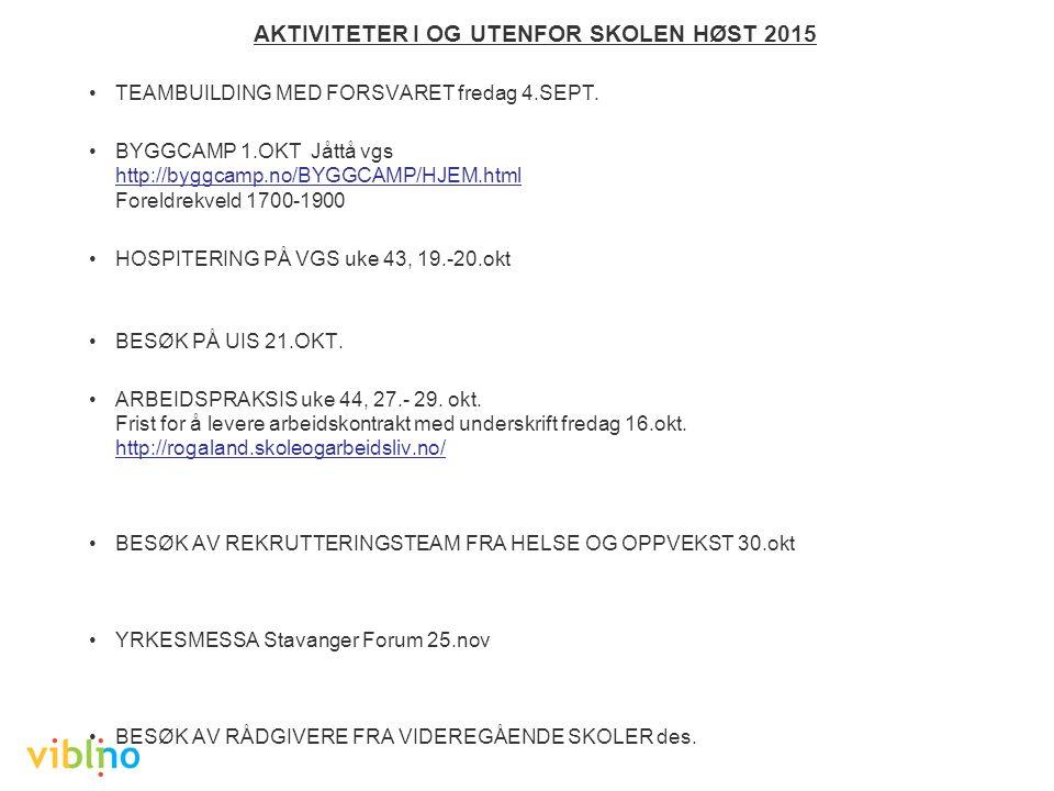 AKTIVITETER I OG UTENFOR SKOLEN HØST 2015 TEAMBUILDING MED FORSVARET fredag 4.SEPT.