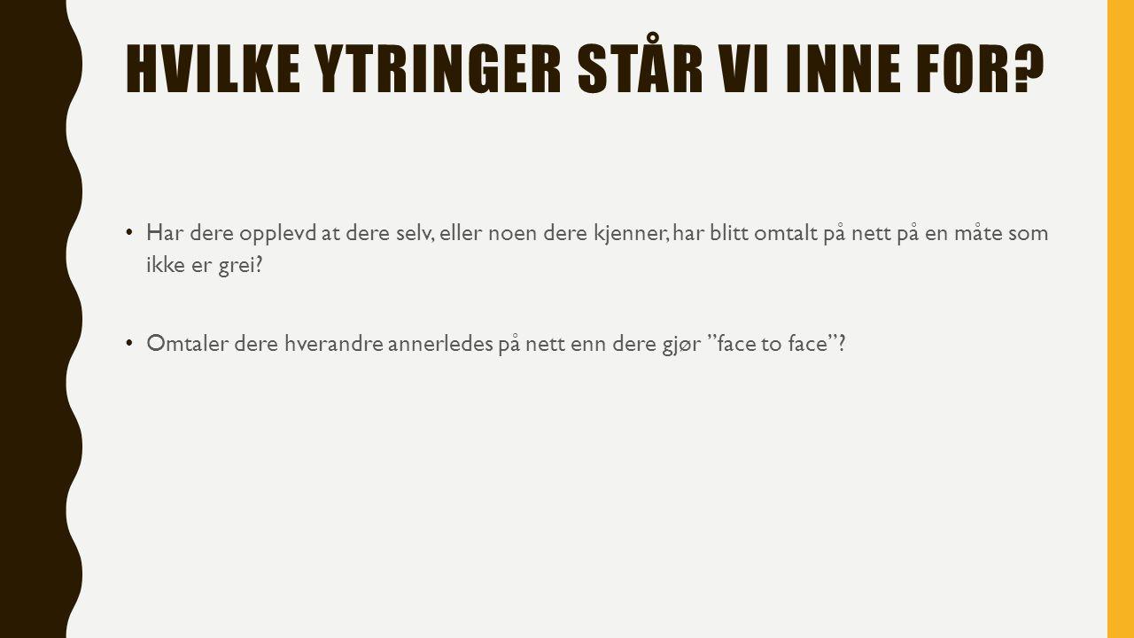 HVILKE YTRINGER STÅR VI INNE FOR.