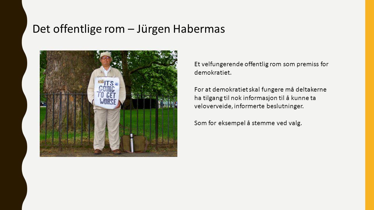 Det offentlige rom – Jürgen Habermas Et velfungerende offentlig rom som premiss for demokratiet.