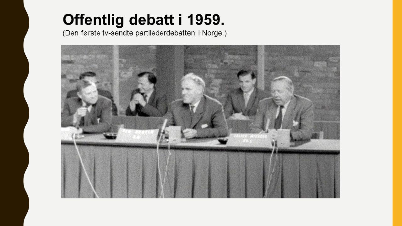 Offentlig debatt i 1959. (Den første tv-sendte partilederdebatten i Norge.)