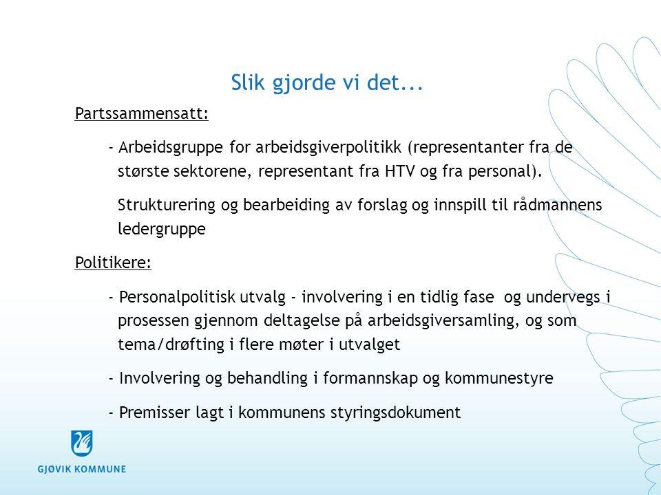 Visjon, verdier og handlingsregler Visjon: Mjøsbyen Gjøvik – motor for vekst og utvikling Verdier: Kompetanse – Engasjement – Respekt Handlingsregler: Vi gjør som vi sier.