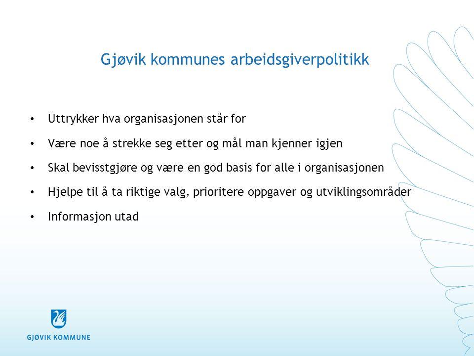 Gjøvik kommunes arbeidsgiverpolitikk Uttrykker hva organisasjonen står for Være noe å strekke seg etter og mål man kjenner igjen Skal bevisstgjøre og
