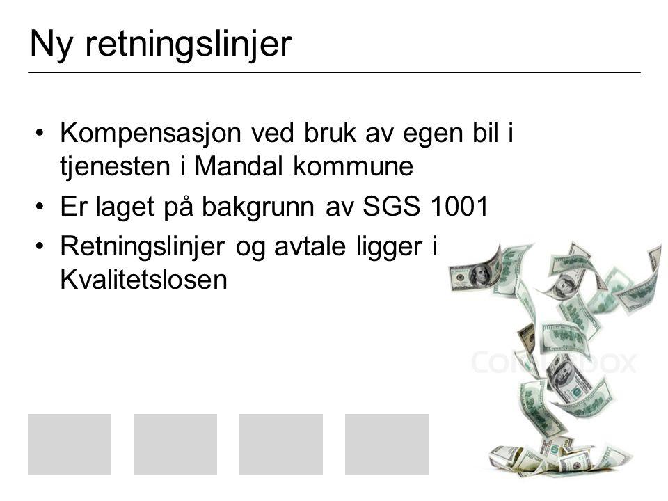 Ny retningslinjer Kompensasjon ved bruk av egen bil i tjenesten i Mandal kommune Er laget på bakgrunn av SGS 1001 Retningslinjer og avtale ligger i Kvalitetslosen