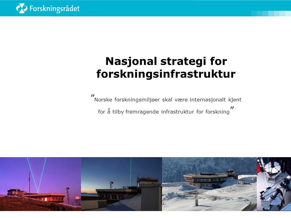 Nasjonal strategi for forskningsinfrastruktur Norske forskningsmiljøer skal være internasjonalt kjent for å tilby fremragende infrastruktur for forskning