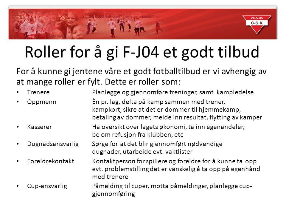Roller for å gi F-J04 et godt tilbud For å kunne gi jentene våre et godt fotballtilbud er vi avhengig av at mange roller er fylt. Dette er roller som: