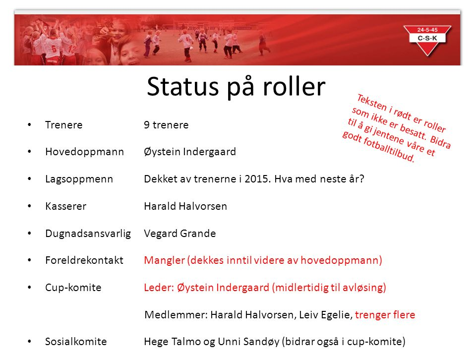 Status på roller Trenere 9 trenere HovedoppmannØystein Indergaard Lagsoppmenn Dekket av trenerne i 2015.