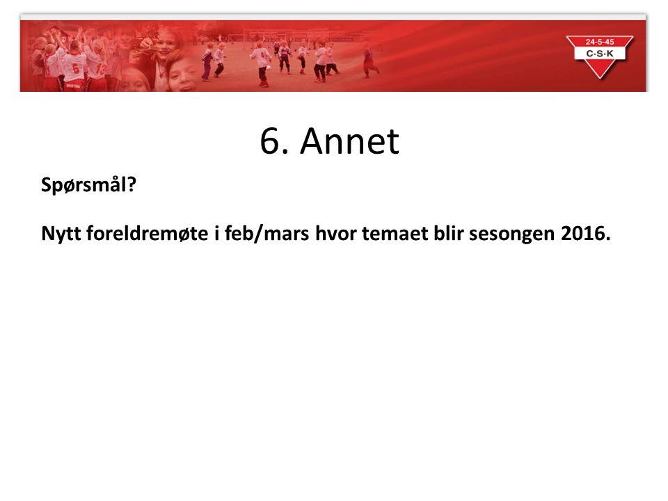 6. Annet Spørsmål Nytt foreldremøte i feb/mars hvor temaet blir sesongen 2016.