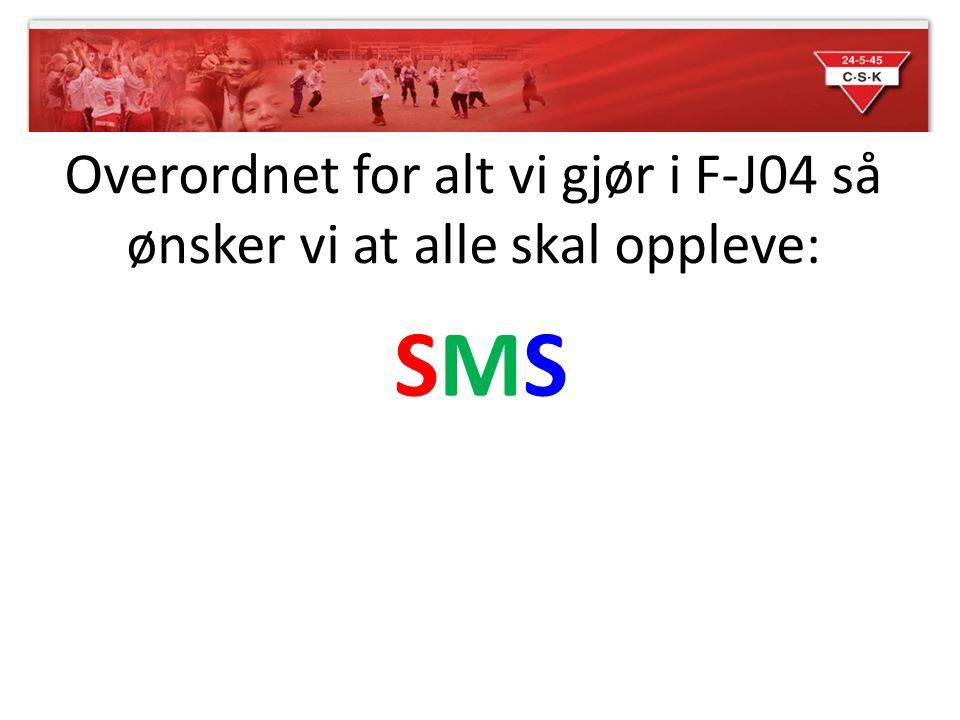 Overordnet for alt vi gjør i F-J04 så ønsker vi at alle skal oppleve: SMSSMS