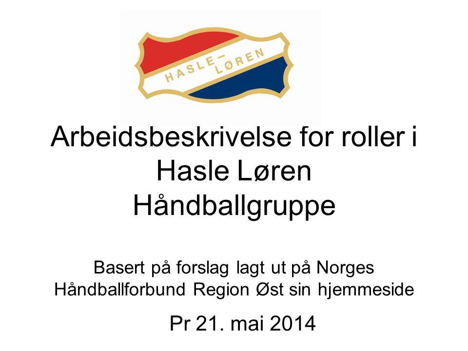 Arbeidsbeskrivelse for roller i Hasle Løren Håndballgruppe Basert på forslag lagt ut på Norges Håndballforbund Region Øst sin hjemmeside Pr 21.