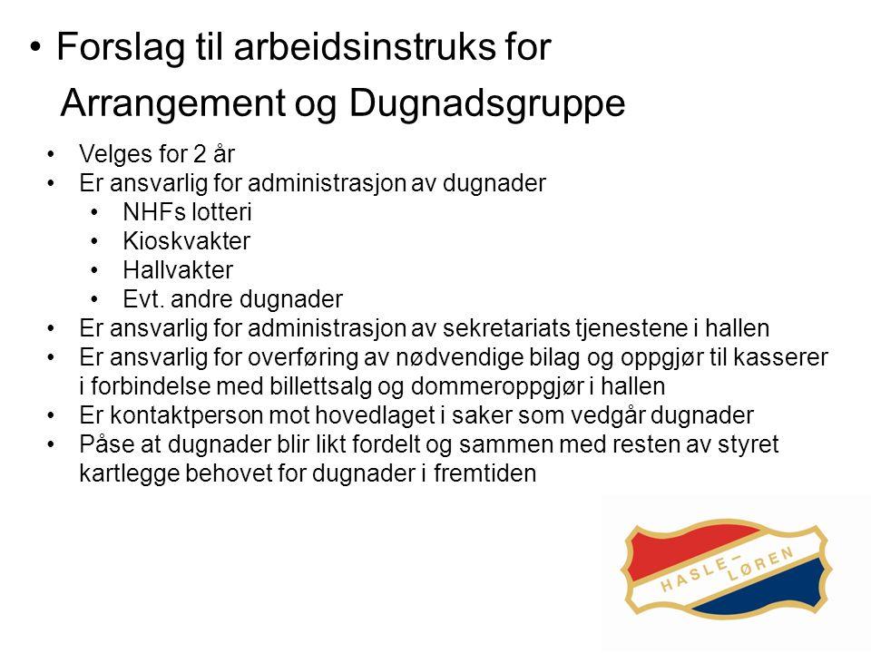 Forslag til arbeidsinstruks for Arrangement og Dugnadsgruppe Velges for 2 år Er ansvarlig for administrasjon av dugnader NHFs lotteri Kioskvakter Hallvakter Evt.