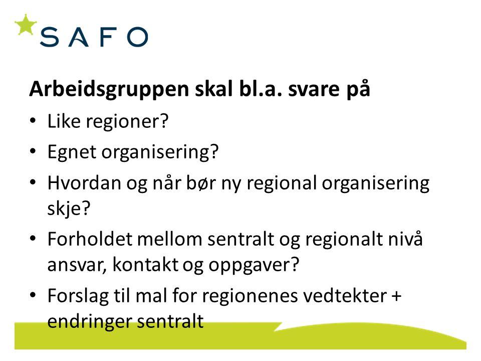 Arbeidsgruppen skal bl.a. svare på Like regioner? Egnet organisering? Hvordan og når bør ny regional organisering skje? Forholdet mellom sentralt og r