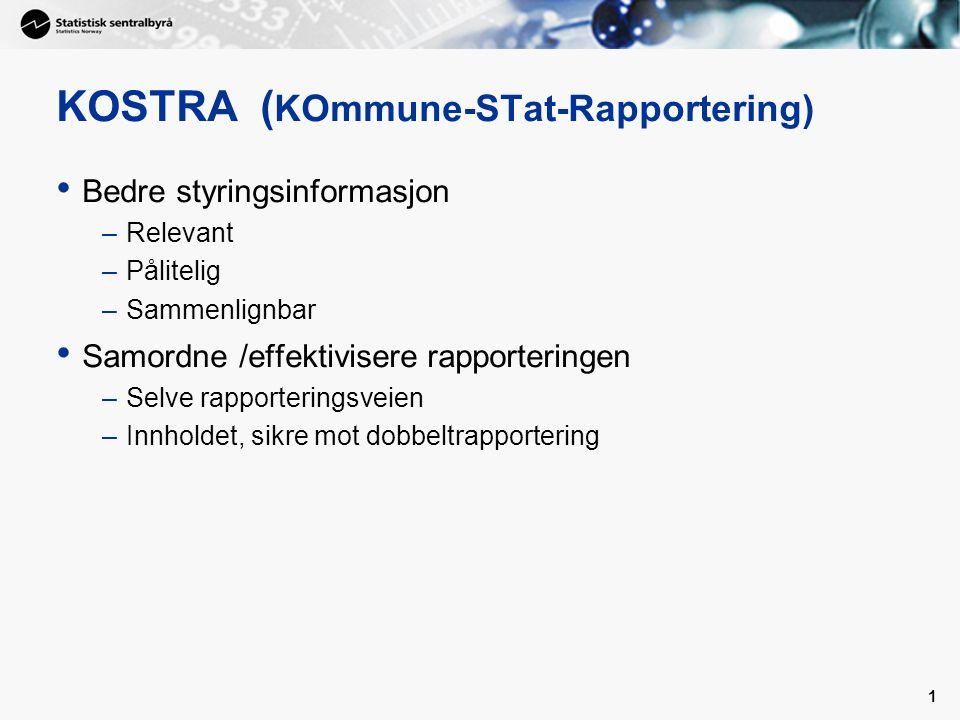 1 KOSTRA ( KOmmune-STat-Rapportering) Bedre styringsinformasjon –Relevant –Pålitelig –Sammenlignbar Samordne /effektivisere rapporteringen –Selve rapporteringsveien –Innholdet, sikre mot dobbeltrapportering